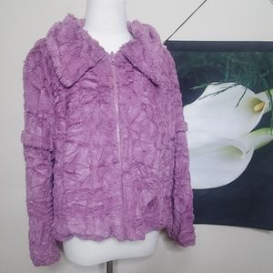 Last Kiss Vintage Purple Faux Fur Jacket